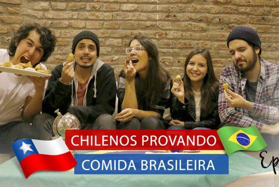 Chilenos provando Comida Brasileira